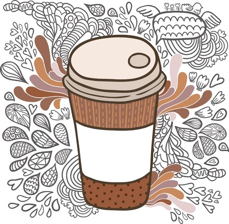 Cute hand drawn cartoon doodle coffee cup Vector