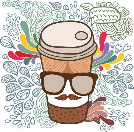 Cute cartoon doodle coffee cup. Hipster glasses and mustache Vector
