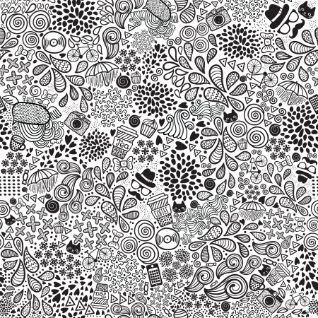 Cute cartoon doodle hipster seamless pattern background Illustration