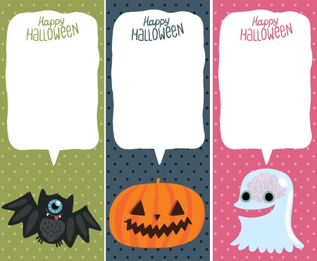 Happy Halloween card set with pumpkin, bat, ghost. Halloween background. Illustration