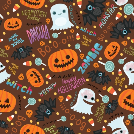 Happy Halloween seamless pattern. Cute vector background. Vector