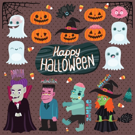 Happy Halloween character set for your design with ghost, pumpkin, witch, dracula, monster, zombie, bat, brain, tree Illustration