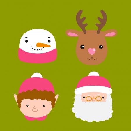 elf christmas: Santa Claus, ciervos, mu�eco de nieve, duende - Ilustraci�n de Navidad Vectores