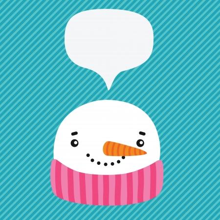 snowman with speech bubble. vector winter illustration Vector