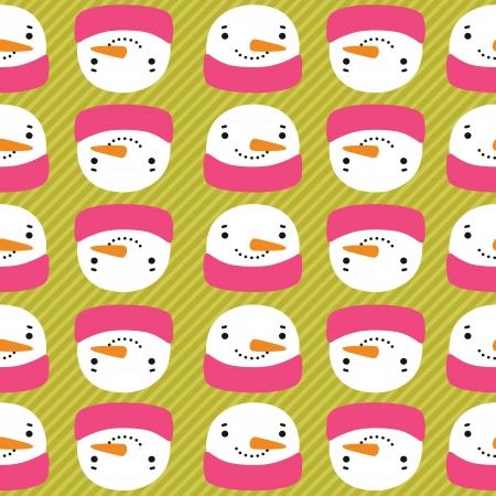 snowman with speech bubble. vector winter seamless pattern Vector