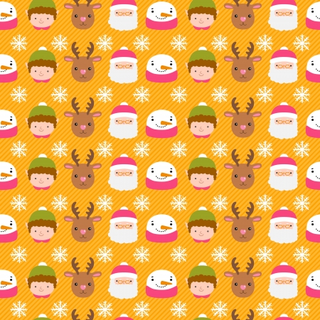 Christmas infographics. Santa Claus, deer, snowman, elf pattern Vector