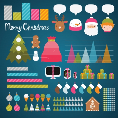 Christmas infographics. Holiday vector info graphic illustration. Vector