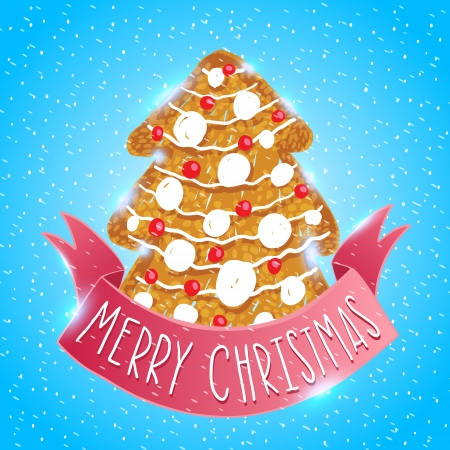 christmas cookie: Ginger cookie christmas tree. Holiday vector card