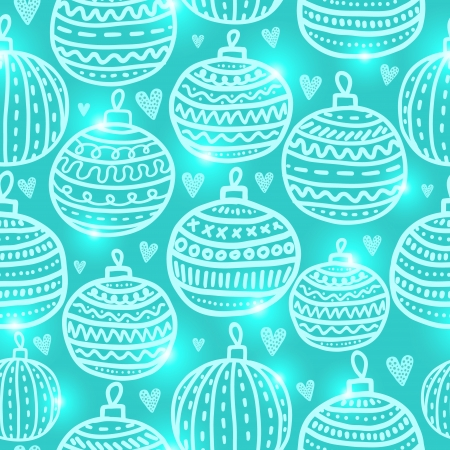 Christmas ball seamless pattern. Holiday vector background Vector