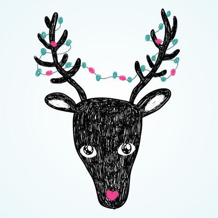 Christmas cute deer illustration. Holiday vector card Vector