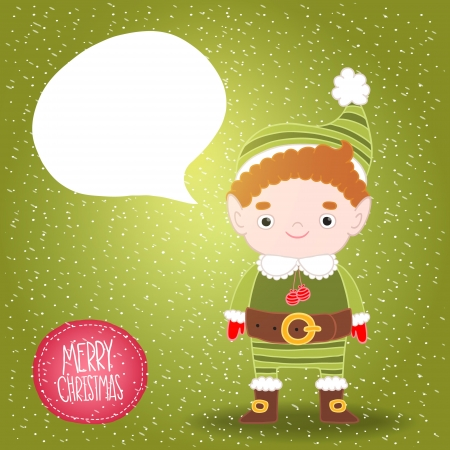 mythical festive: Christmas cute elf with bubble speech background Illustration