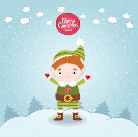 Christmas elf background. Cute holidaq vector illustration Illustration
