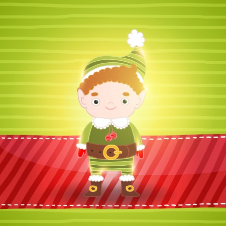 mythical festive: Christmas cute small elf. Holiday vector background