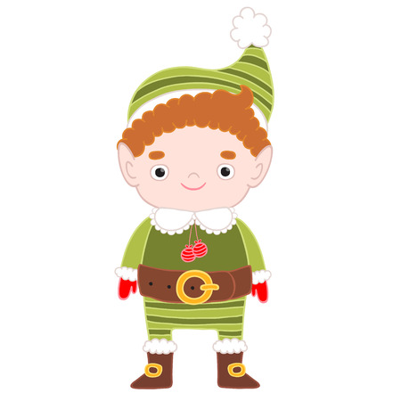 mythical festive: Christmas cute elf. Holiday vector character illustration.