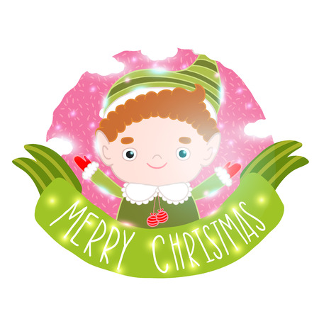mythical festive: Christmas elf card with ribbon. Holiday vector illustration Illustration