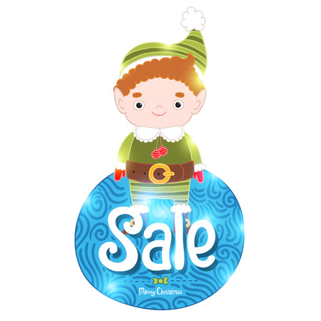 mythical festive: Christmas elf with sale label. Holiday vector background Illustration