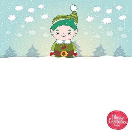 mythical festive: Christmas elf background. Cute holidaq vector illustration Illustration
