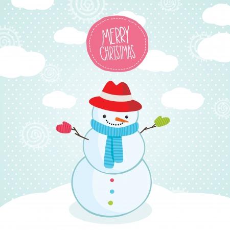 Cute cartoon snowman Christmas card. Holiday vector illustration