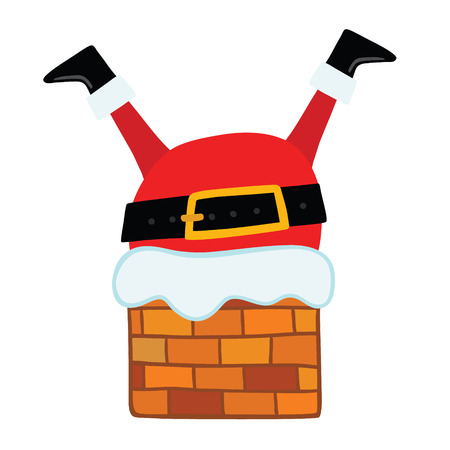 Santa Claus stuck in the Chimney. Christmas background Illustration