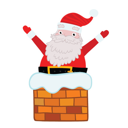 Santa Claus stuck in the Chimney. Christmas background Vector