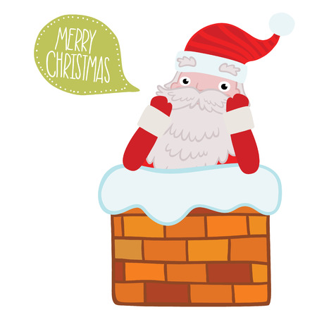 Santa Claus stuck in the Chimney with bubble speech. Christmas background Vector