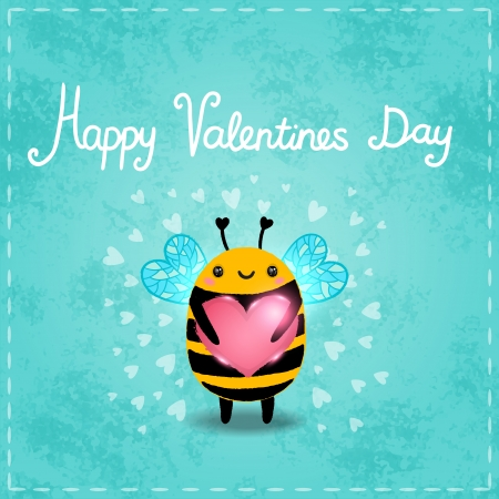 Valentines day greeting card with bee and heart Illustration