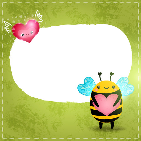 pollinator: Valentines day greeting card with bee and heart Illustration