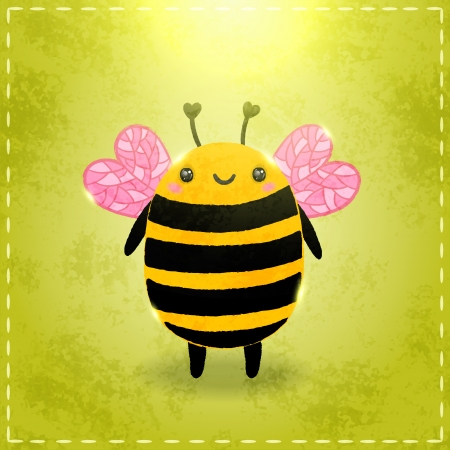 Valentines day greeting card with bee and heart Vector