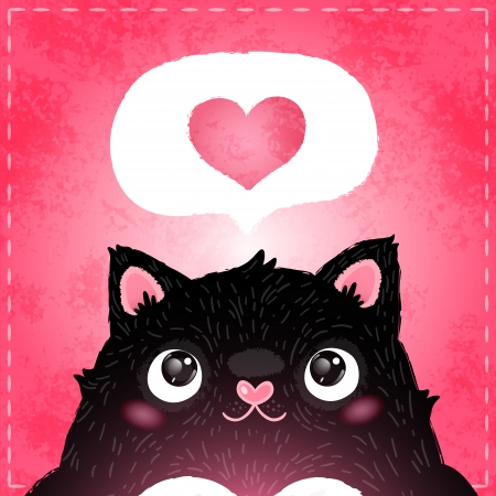 Happy Valentines day card with fat cat Vector