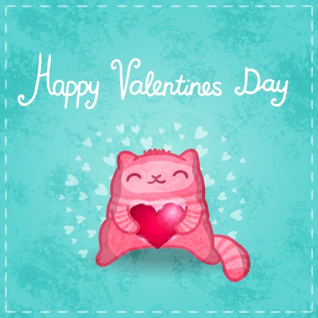 Happy Valentines card. Cute pink cartoon cat with heart. Illustration