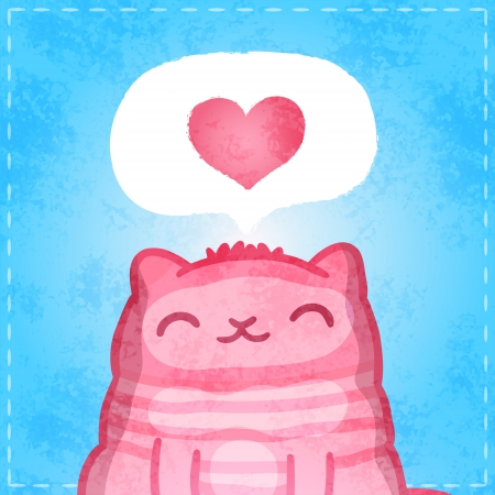 Happy Valentines card. Cute pink cartoon cat with heart. Vector
