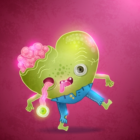 Happy Valentines card with zombie heart. Love vector illustration Vector