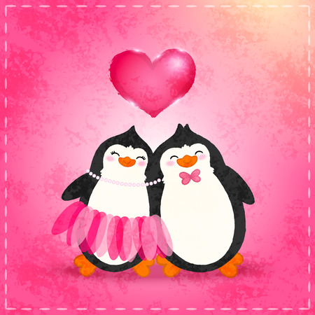 Valentines card with cute cartoon penguin Vector