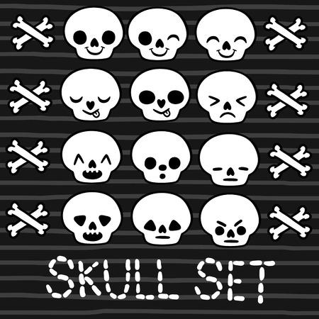 halloween skeleton: cute emotion skull set for Halloween design