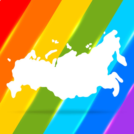 russia map: Russia map on rainbow background.  I used maps from the public domain http:www.lib.utexas.edumapsworld_mapstxu-oclc-264266980-world_pol_2008-2.jpg Illustration