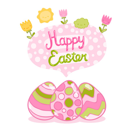 easter background: Happy Easter background with cartoon cute eggs and flowers