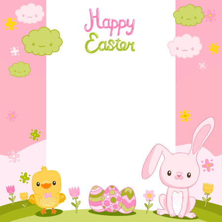 Happy Easter background with cartoon cute bunny, eggs and chicken Vector