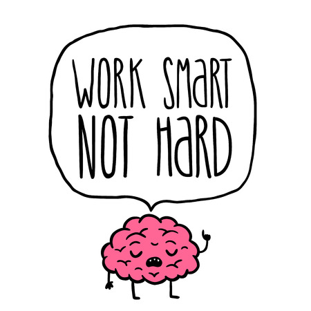 work smart not hard vector illustration. brain cartoon