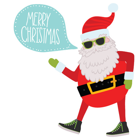ho: Hipster Santa Claus with bubble speech. Christmas background