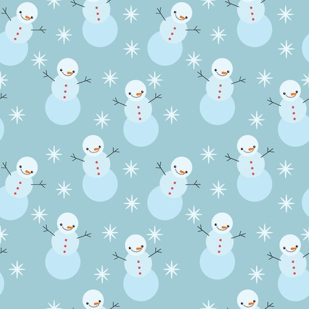 winter snowman seamless pattern. vector christmas background Vector