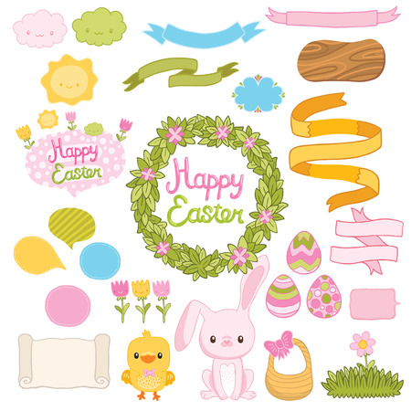 Happy Easter set with cartoon cute bunny, chicken, eggs, wreath, flowers, ribbons Vector