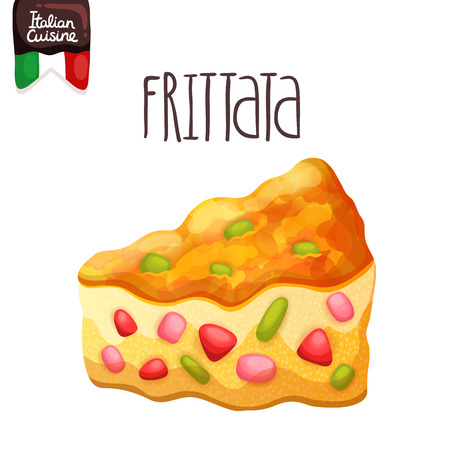 baked potatoes: Frittata. Omelette with tomato, zucchini. Italian food vector illustration. Illustration