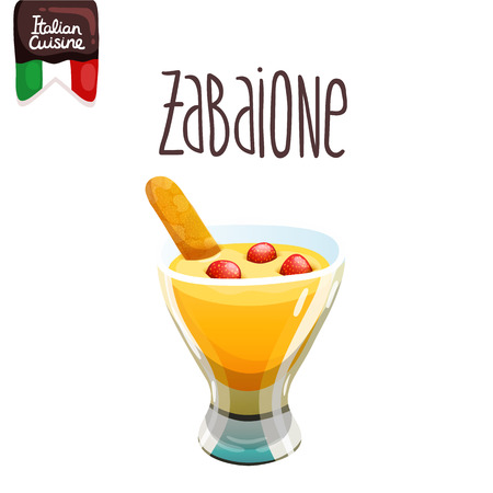 Zabaione. Eggnog with cookie. Italian food vector illustration. Sabayon, or zabajone, Zabaglione Illustration