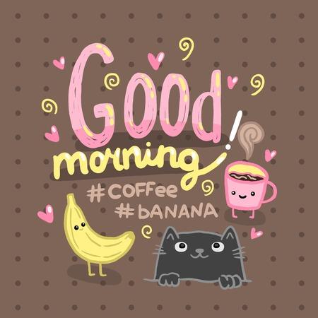 Buena ilustración de la mañana con el café, el gato, el plátano. Lindo fondo vector Vectores