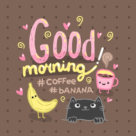Good morning illustration with coffee, cat, banana. Cute vector background