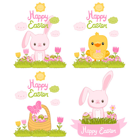 Happy Easter set with cartoon cute bunny, chicken, eggs, basket. Holiday elements Vector