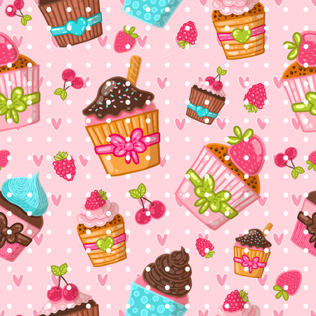 Muffin seamless pattern. Cupcake background. Hand drawn vector illustration. Food image. Vector