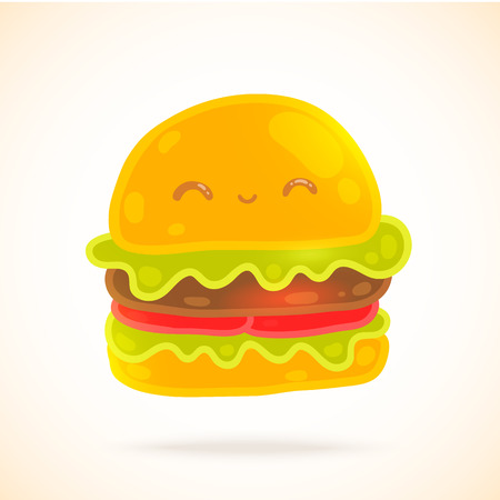 bacon art: Cute funny cartoon hamburger with eyes, smiling. Vector fast food illustration.