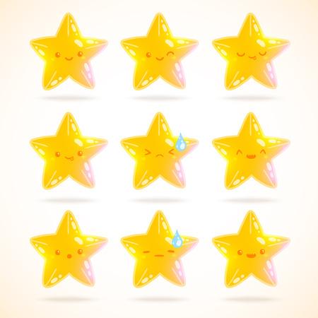 estrella caricatura: emociones encantador estrella de dibujos animados. vector, imagen, ilustraci�n
