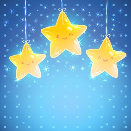 yıldız: Sevimli Yıldız arka plan. İyi geceler vektör çizim Çizim